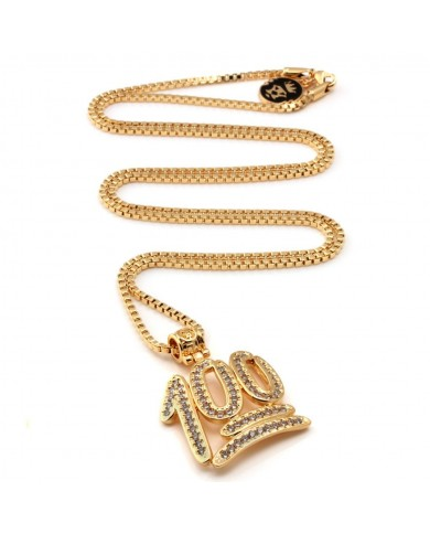 King Ice 14K CZ 100 Points Emoji Necklace