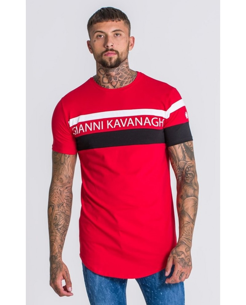 Gianni Kavanagh Asymmetrie Block Tee In Red