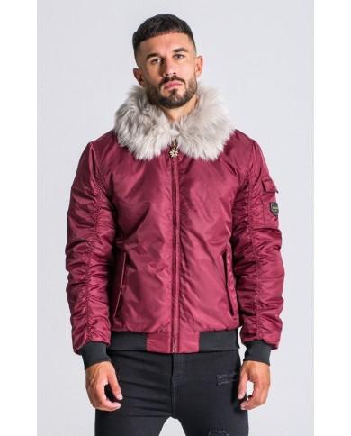 Gianni Kavanagh Burgundy Bomber Jacket with Fur Collar
