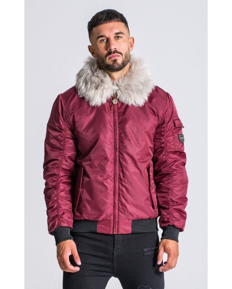 Gianni Kavanagh Burgundy Bomber Jacket with Fur Collar