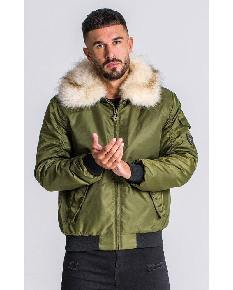 Gianni Kavanagh Green Bomber Jacket with Fur Collar