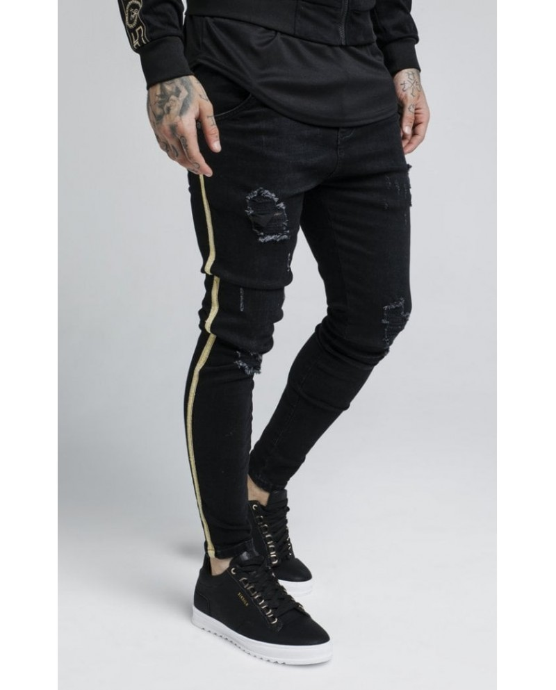 Sik Silk Distressed Gold Tape Denims