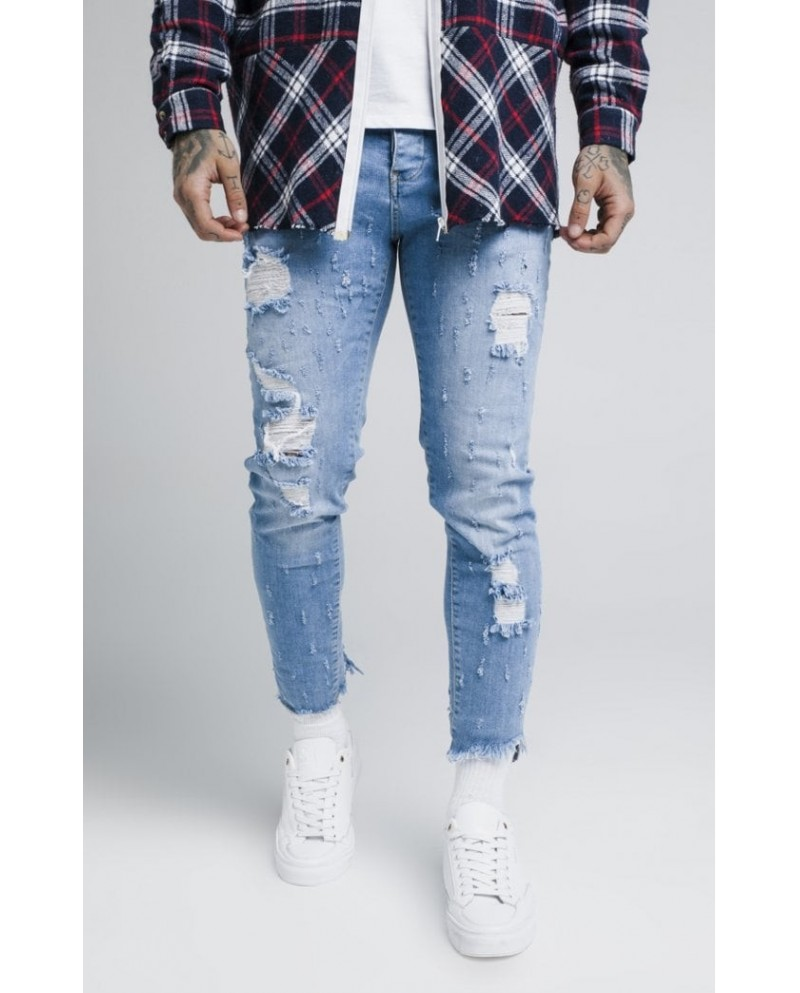 Sik Silk Raw Cuff Cropped Denims