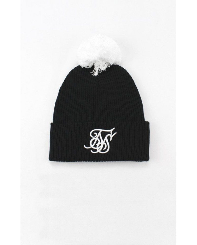 Sik Silk Cuff Knit Bobble Hat
