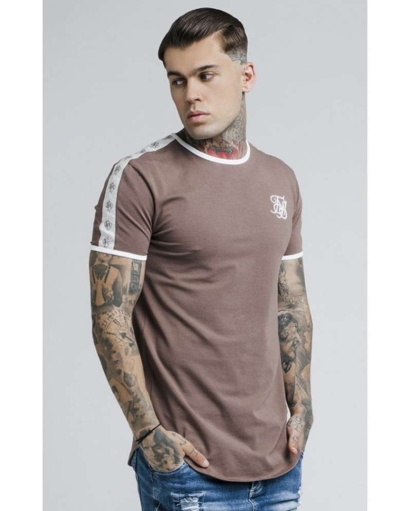 Sik Silk Curved Hem Taped Gym Tee