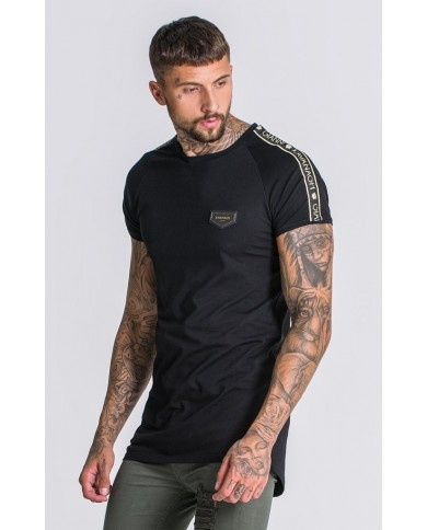 Gianni Kavanagh Black Tee With GK Gold Lurex Ribbon
