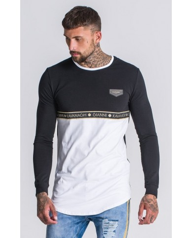 Gianni Kavanagh Black/White Contrast Sweatshirt With Gold Tape