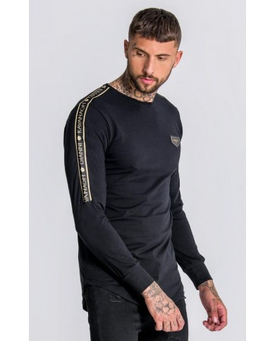 Gianni Kavanagh Tee With GK Gold Lurex Upper Arm Ribbon