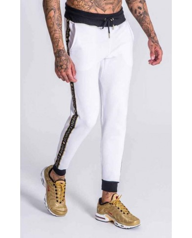 Gianni Kavanagh White Joggers With GK Gold Lurex Ribbon