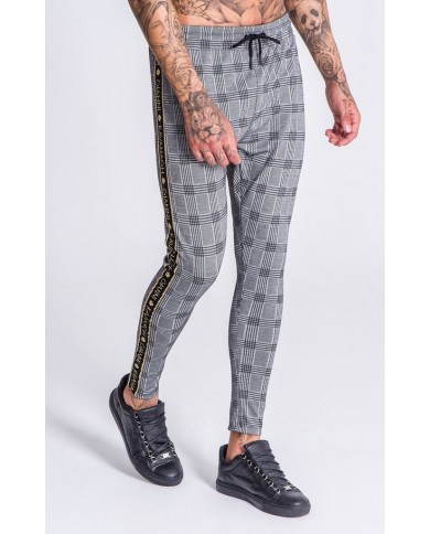 Gianni Kavanagh Grey Checkered Pants With GK Gold Lurex Ribbon