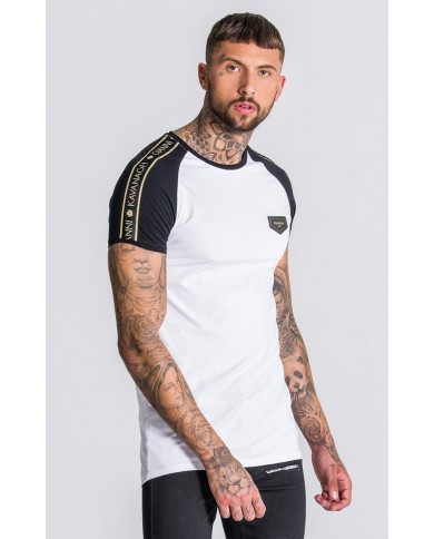 Gianni Kavanagh Contrast Raglan Tee With GK Gold Lurex Ribbon