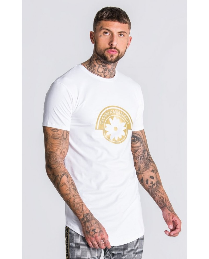 Gianni Kavanagh White Tee With Gold GK Print