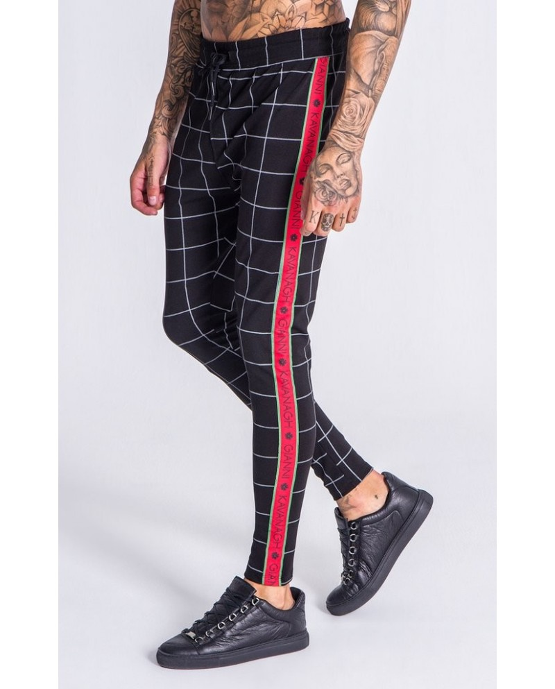 Gianni Kavanagh Dark Grey Checkered Pants With GK Red and Green Ribbon