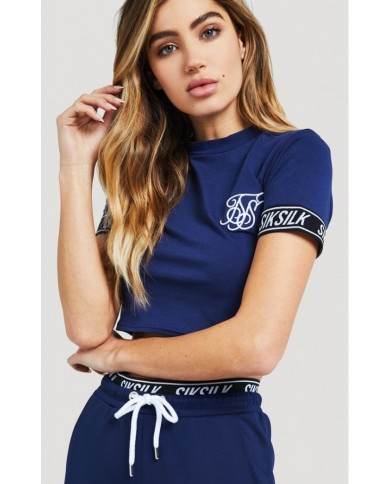 Sik Silk Fitted Elastic Sleeve Crop Tee