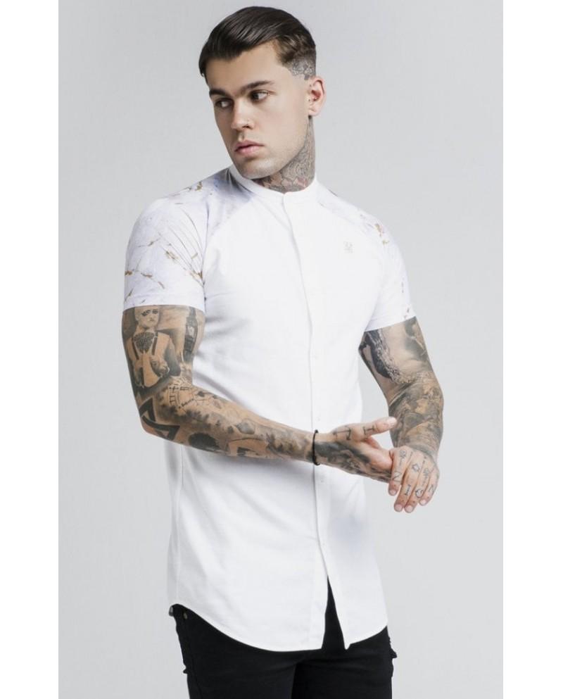 Sik Silk Marbleise Grandad Collar Shirt