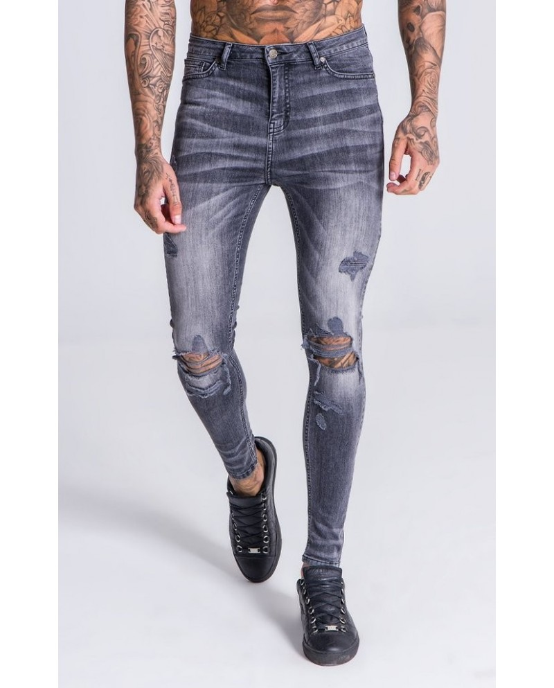 Gianni Kavangh Grey Jeans with Destroyed Details
