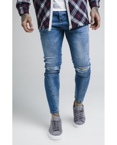 Sik Silk Knee Burst Twisted Skinny Denims