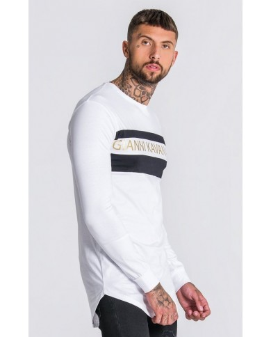 Gianni Kavanagh Gold GK Asymmetric Block Long Sleeve In White