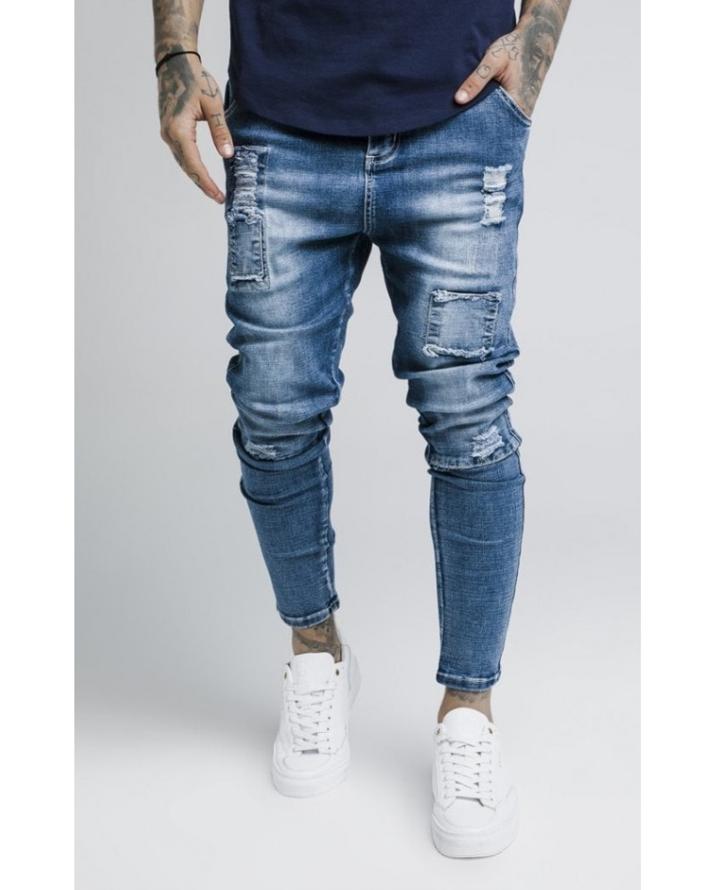 Sik Silk Bust Knee Low Rise Denims