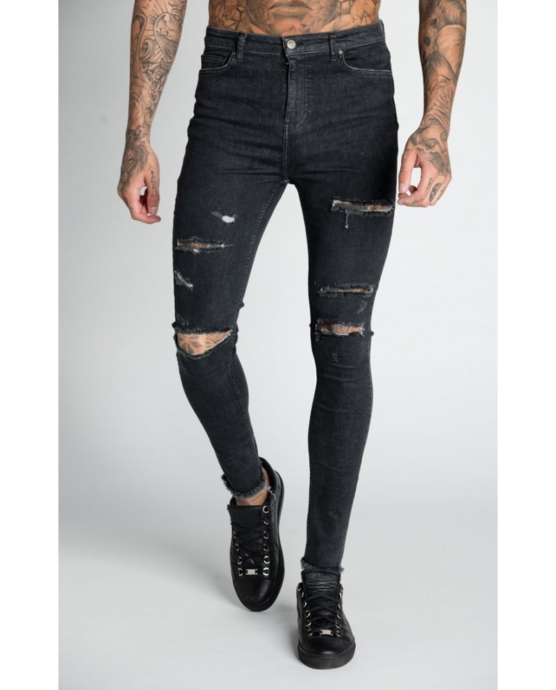 Roone Roman Black Ripped Jeans