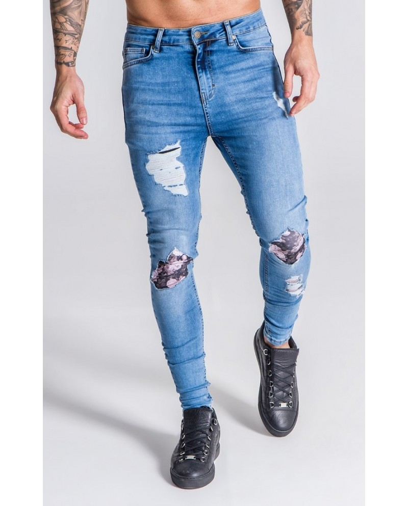 Gianni Kavanagh Distressed Jeans With Nostalgic Roses Print