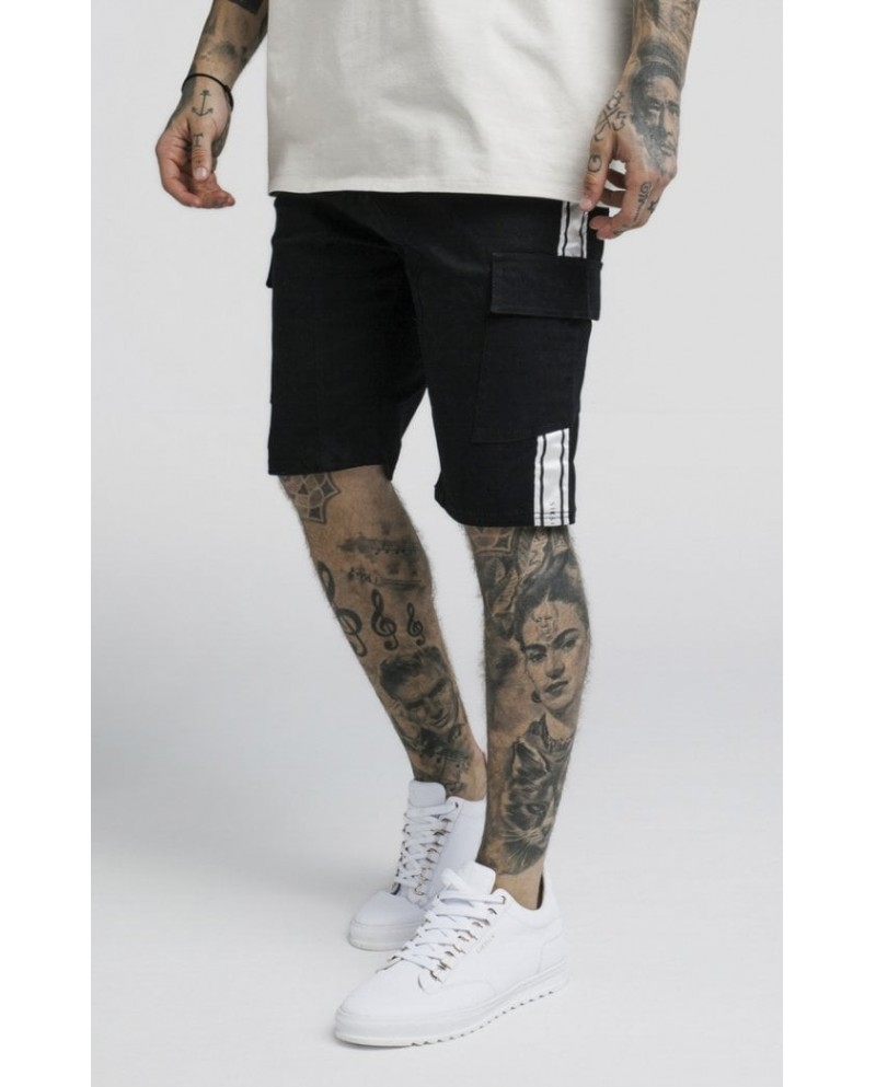 Sik Silk Taped Cargo Shorts  Black
