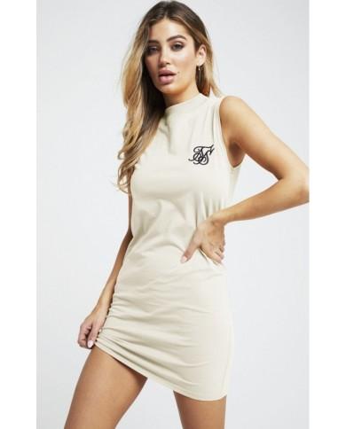Sik Silk High Neck Sleeveless Dress
