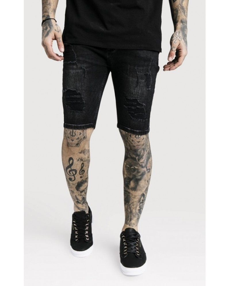 Sik Silk Distressed Skinny Shorts