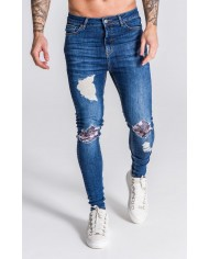 Gianni Kavanagh Blue Distressed Jeans With Nostalgic Roses Print