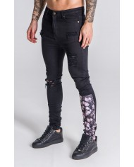 Gianni Kavanagh Black Ripped Jeans With Nostalgic Roses Patch