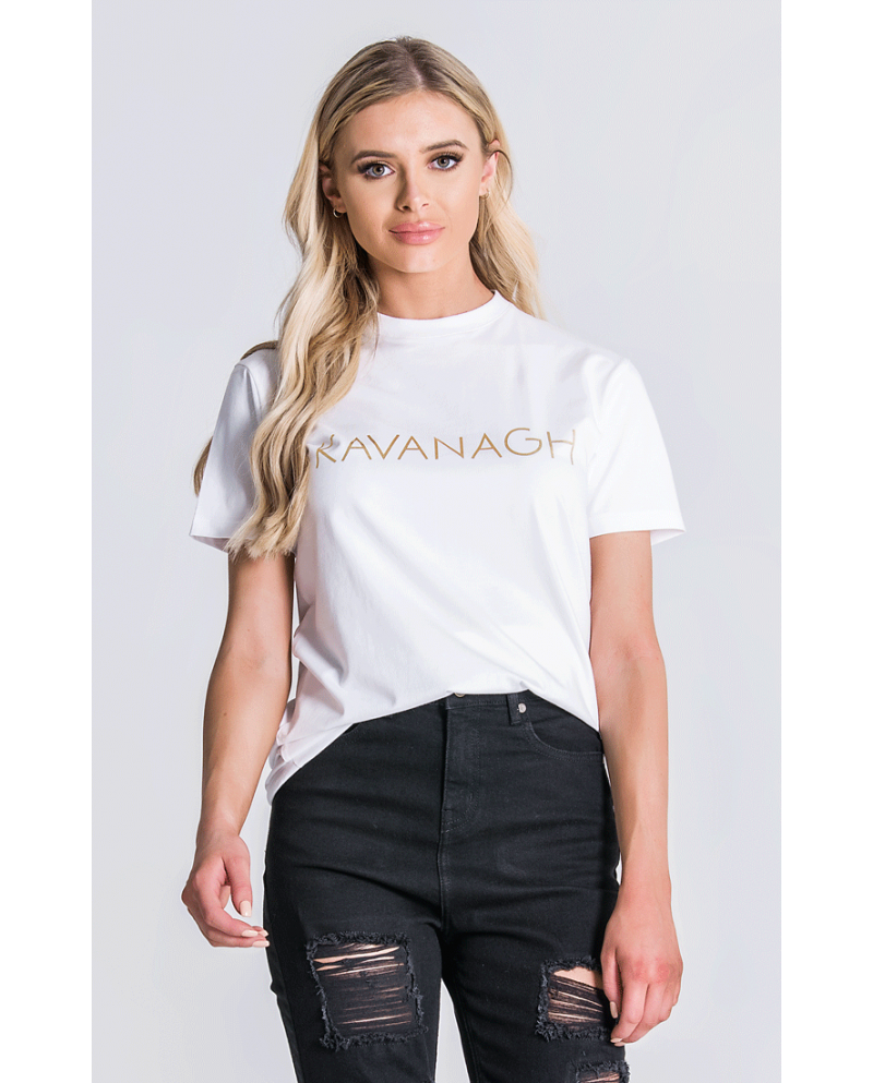 Gianni Kavanagh White Tee With Kavanagh Gold Print
