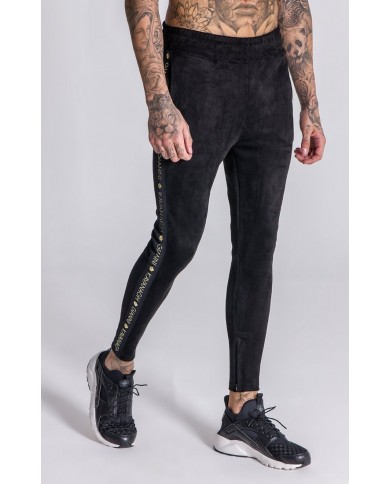 Gianni Kavanagh Black Suedette Joggers With Contrasting Details