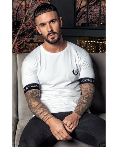 Roone Roman White Embroidered Tee With RR Elastic
