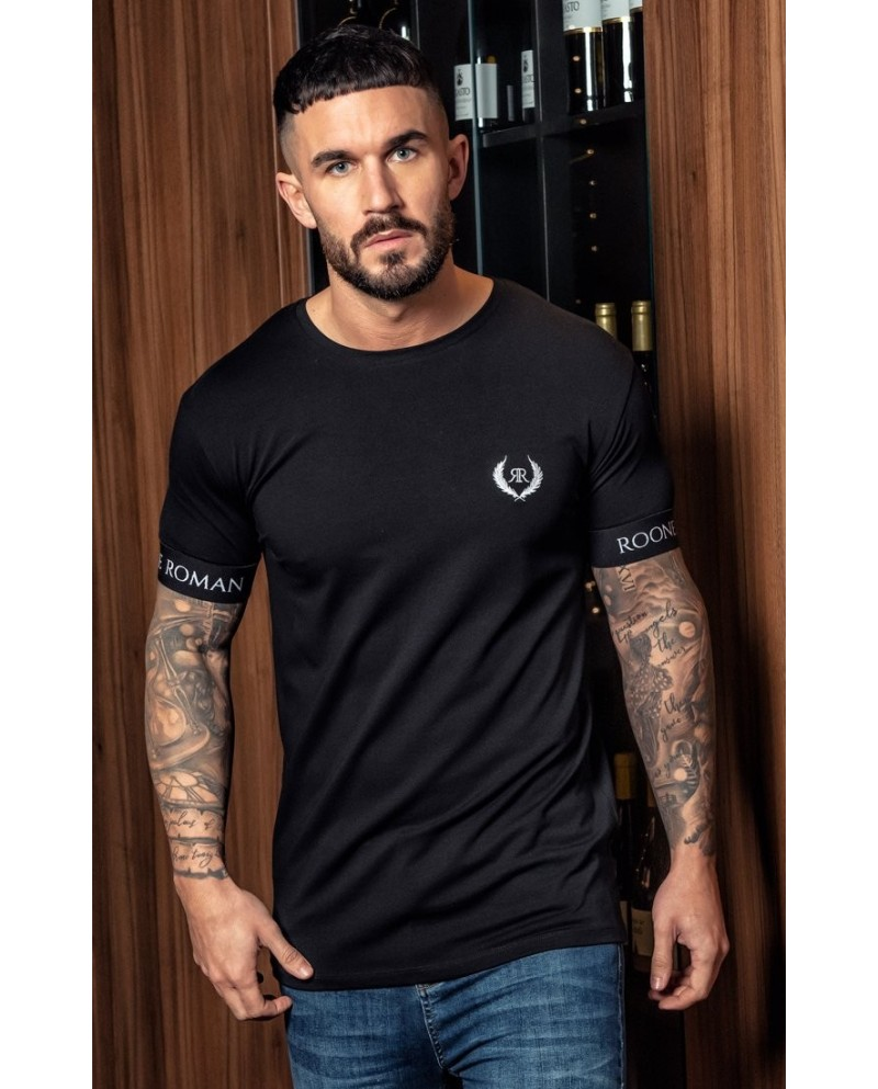 Roone Roman Black Embroidered Tee With RR Elastic