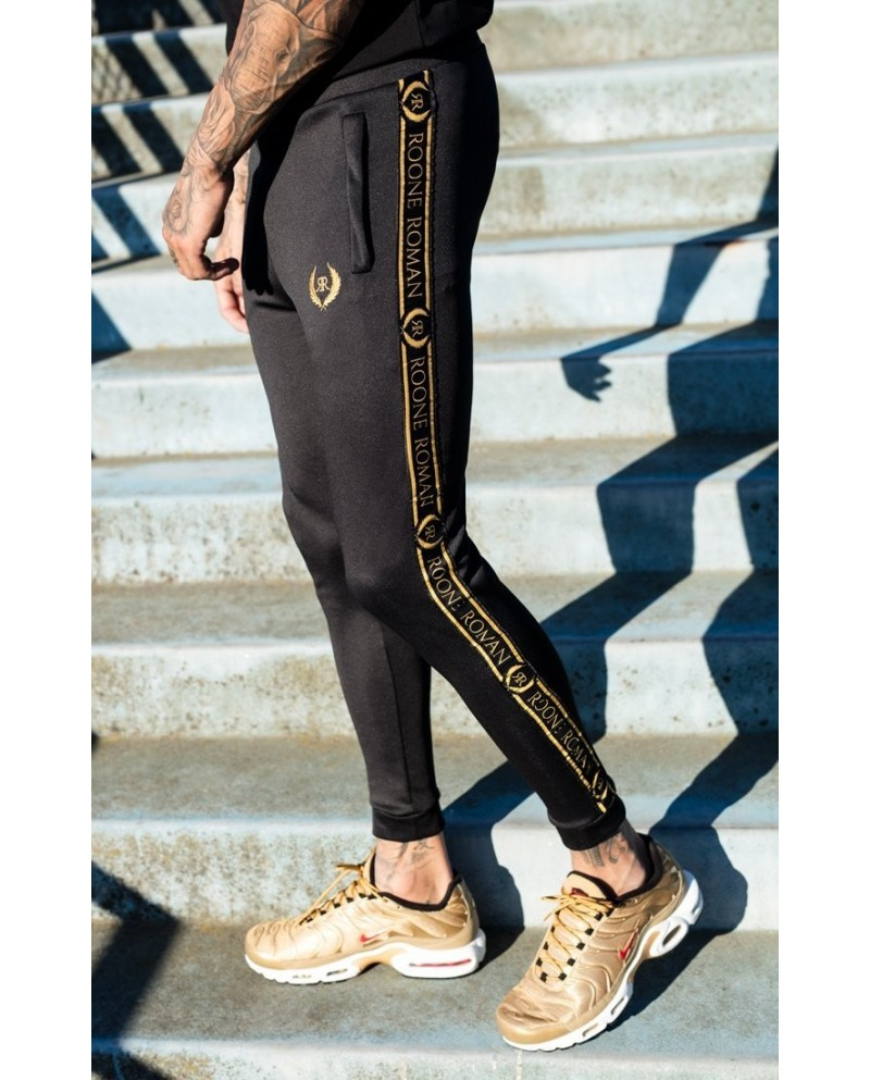 Roone Roman Black Joggers With RR Ribbon