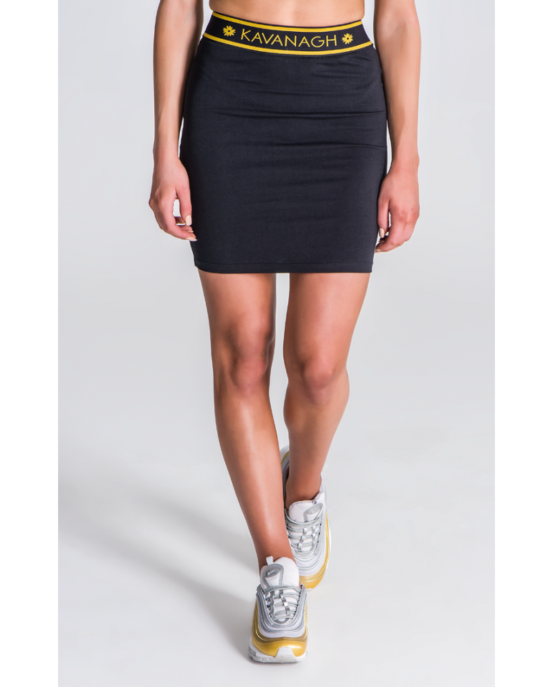 Gianni Kavanagh Black Skirt With GK Black And Gold Elastic