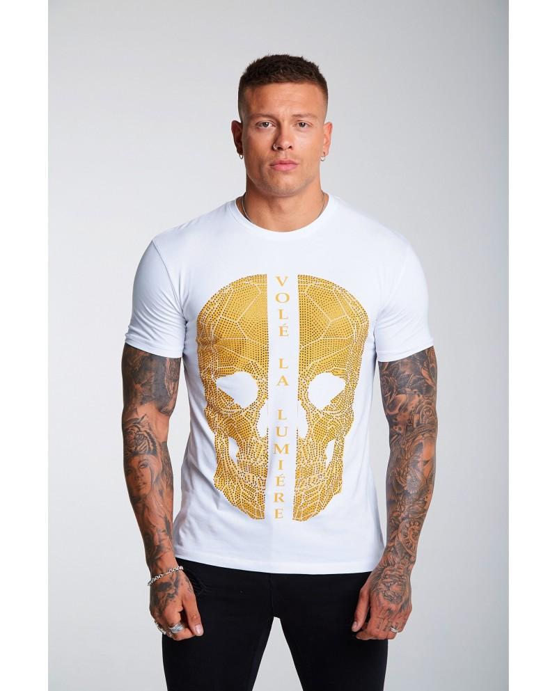 Volé La Lumière Gold Rhinestone Skull T-Shirt