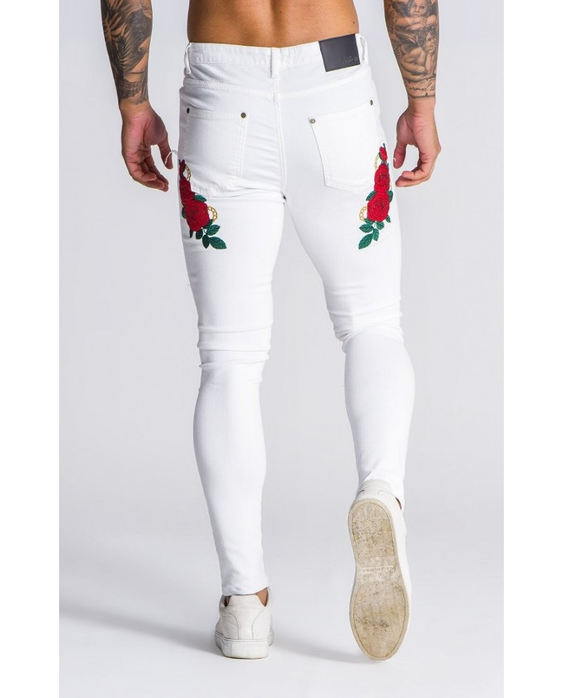 Gianni Kavanagh Embroidered White Racer Roses Jeans