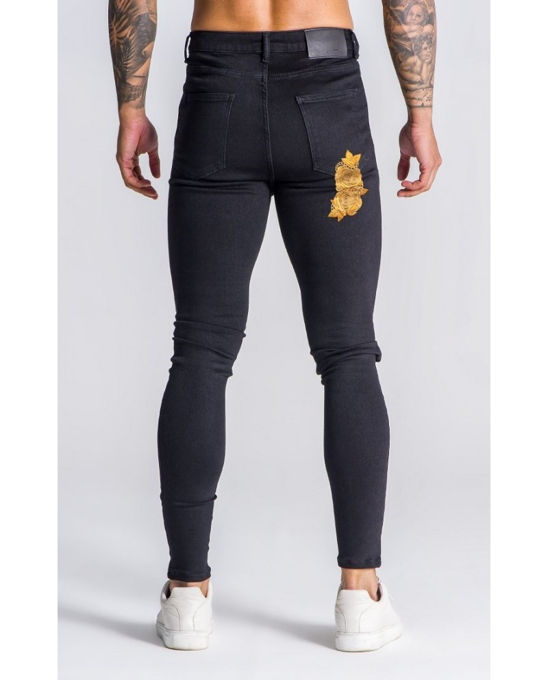 Gianni Kavanagh Embroidered Black Opulence Jeans