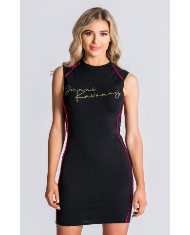 Gianni Kavanagh Black Tube Gold Gk Signature Dress