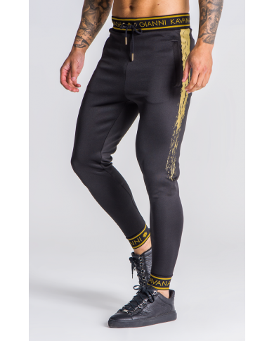 Gianni Kavanagh Black With Gold Detail Joggers