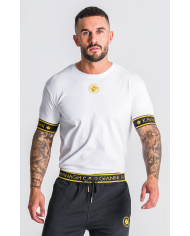 Golden Circle White Tee With Gold Elastic