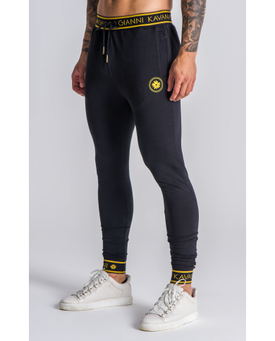 Gianni Kavanagh Black Joggers With Gold GK Elastic