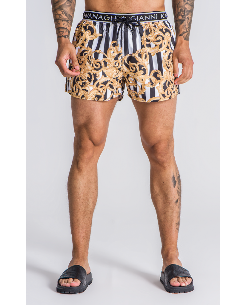Gianni KavanaghBaroque Striped Swim Shorts With GK Elastic