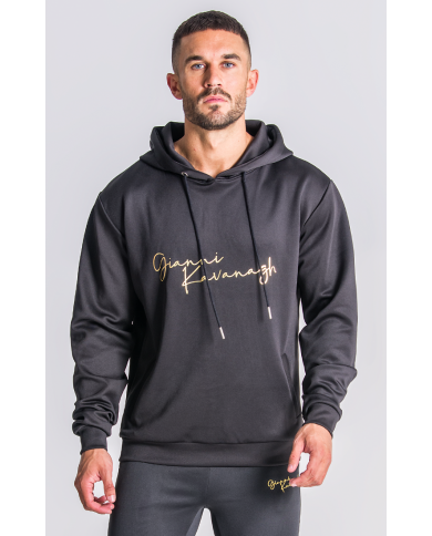 Gianni Kavanagh Black Hoodie With GK Signature Gold Logo