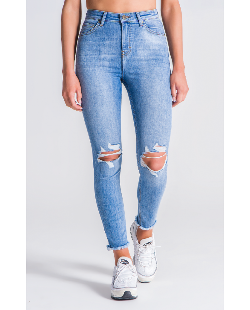 Gianni Kavanagh Medium Blue Hight Ripped Skinny Jeans