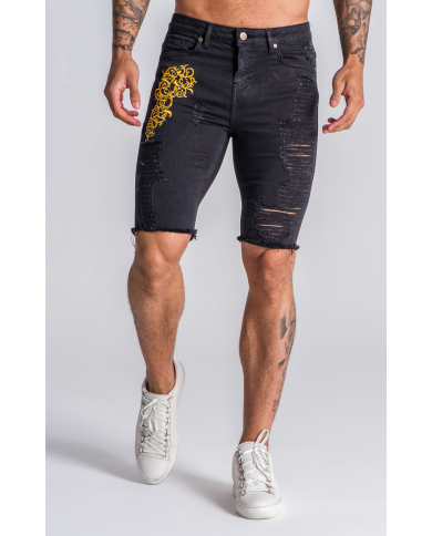 Gianni Kavanagh Black Denim Shorts With Baroque Embroidery