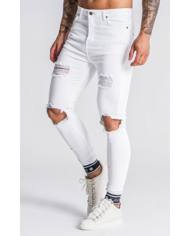 Gianni Kavanagh White Distressed Jeans With GK Elastic