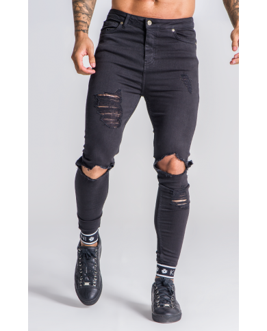 Gianni Kavanagh Black Distressed Jeans With GK Elastic