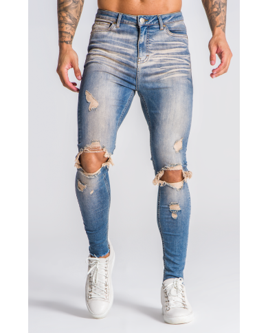 Gianni Kavanagh Blue Jeans With Beige Wash And Rips